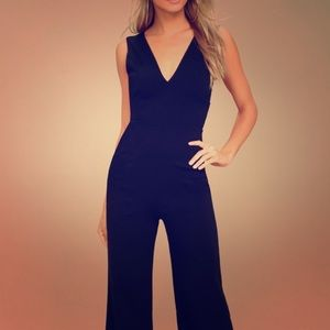 LULU's READY FOR IT BLACK SLEEVELESS JUMPSUIT